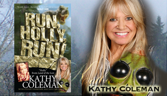 "photo of Kathy COleman and her book ""Run, Holly, Run!"""